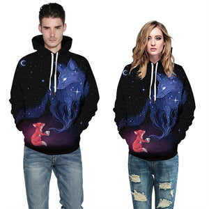 Unisex Outer Space Star Cloud Fox 3D printed Hoodie