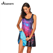 Load image into Gallery viewer, Fish Scale/Galaxy Space Two Side Print Reversible Dress