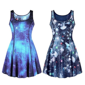 Fish Scale/Galaxy Space Two Side Print Reversible Dress