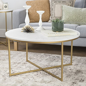 We Furniture 36 Coffee Table X Base Faux Marble Gold