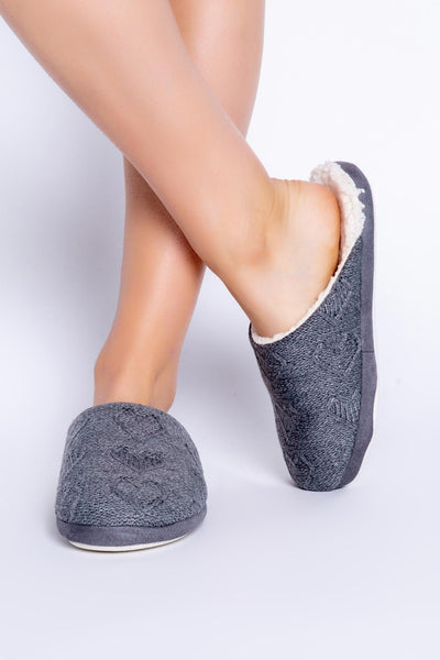 Women's heather grey cable knit slipper mules with Sheepa lining inside. (4854171730020)