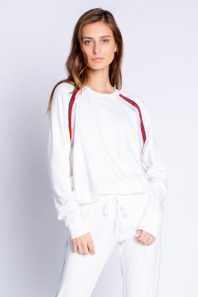 Sporty-inspired ivory pullover with multi-stripe taping at front seams. Soft chammy fleece knit with rib cuffs. (4881709662308)