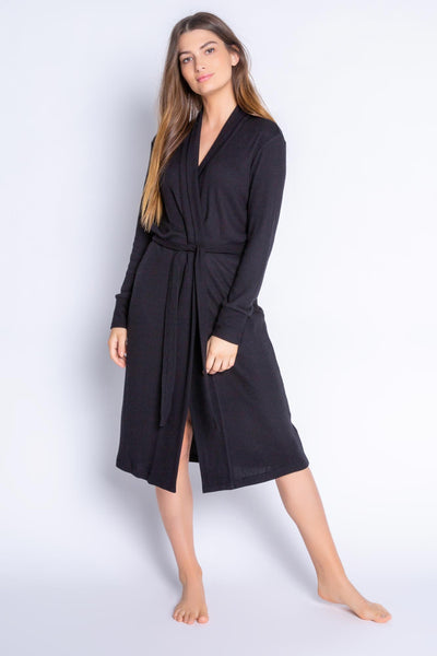Luxury-length robe in soft 2x2 Peachy rib. Black ribbed robe has attached belt and relaxed fit. (4876483035236)