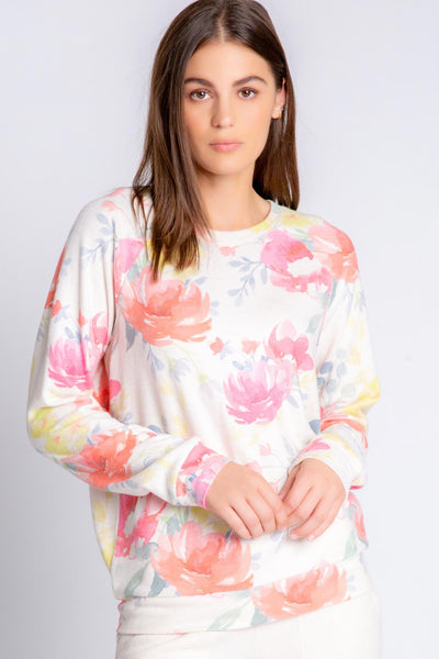 Relaxed fit long sleeve top in oatmeal Peachy Jersey blend, pattern in soft floral multi-color print (4907275223140)
