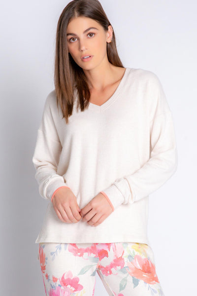 Relaxed fit long sleeve top in oatmeal Peachy Jersey blend, sleeves with coral tipping. (4881837457508)