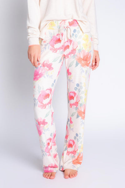 Wide-leg banded drawstring pant in oatmeal Peachy Jersey blend, multi-color print. Relaxed fit. (4907275321444)