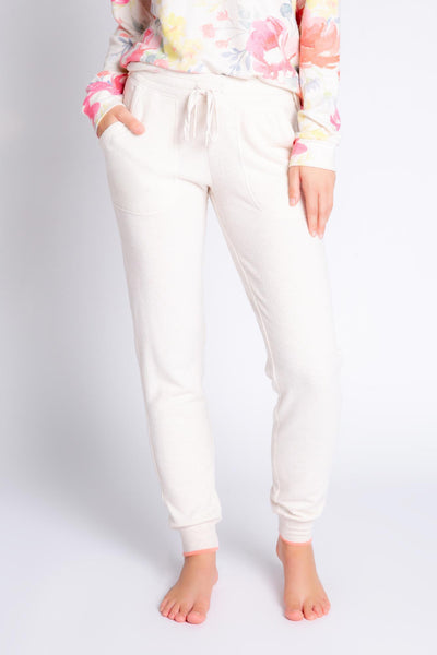 Banded drawstring jammie pant in oatmeal Peachy Jersey blend, with coral tipping. (4881837555812)