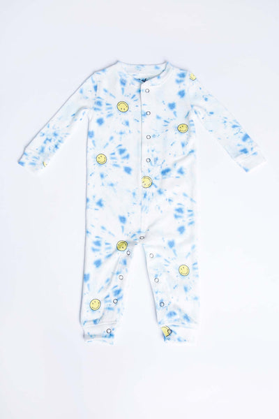 Infant romper in exclusive SMILEY® tie dye print, on soft peachy jersey (4881840603236)