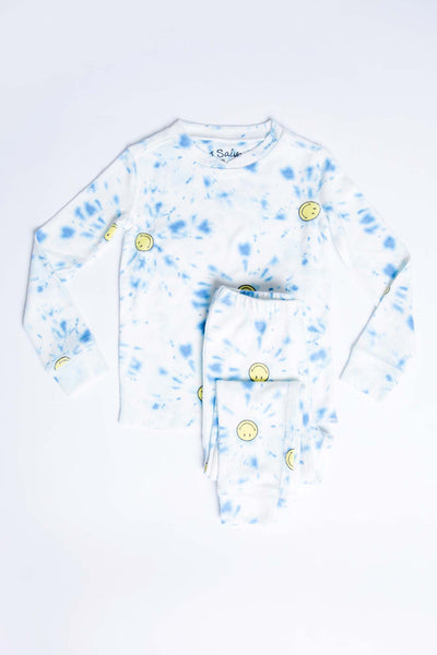 Kids ivory-blue tie dye & SMILEY printed peachy jammie set in peachy jersey. (4881840636004)