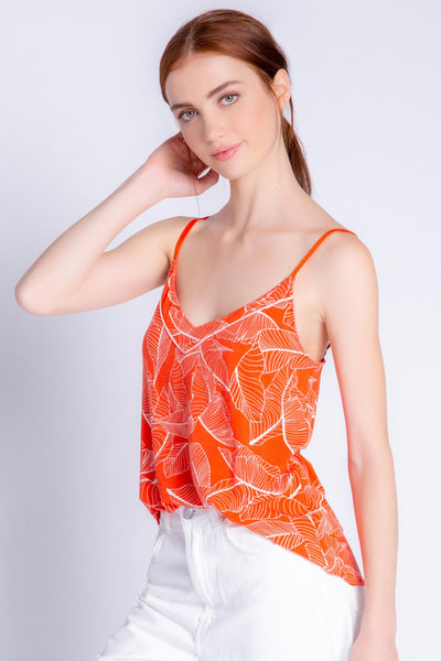 Cami in fire red modal jersey with two-tone leaf print. Adjustable straps. (4881840767076)