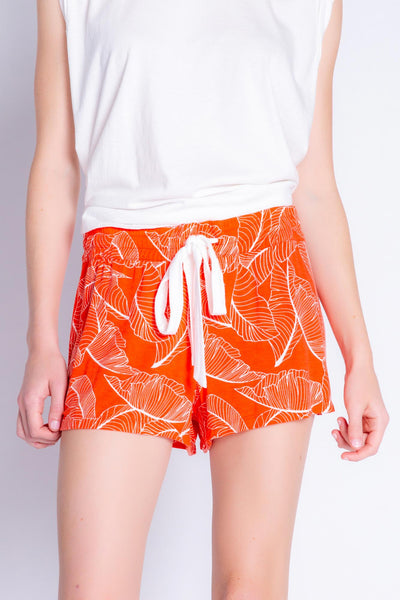 Short in fire red modal jersey with two-tone leaf print. Elastic and ribbon-tie waist. (4881840898148)