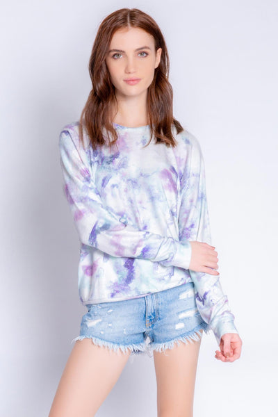 Blue-lilac long sleeve lounge top with relaxed fit in peachy jersey knit. (6548624769124)