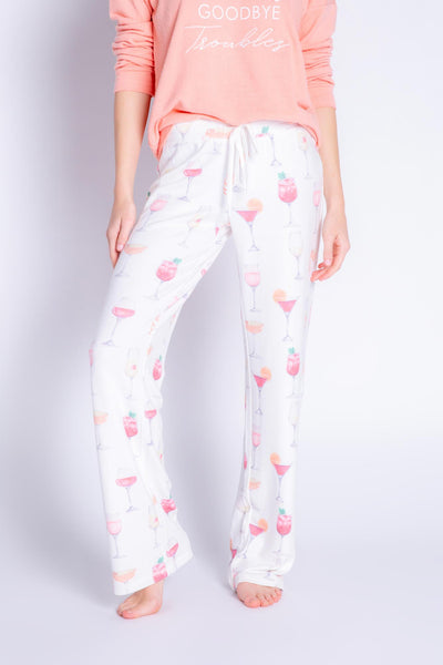 Banded pant in ivory peachy jersey with cocktail print, relaxed fit with drawstring. (6536823701604)