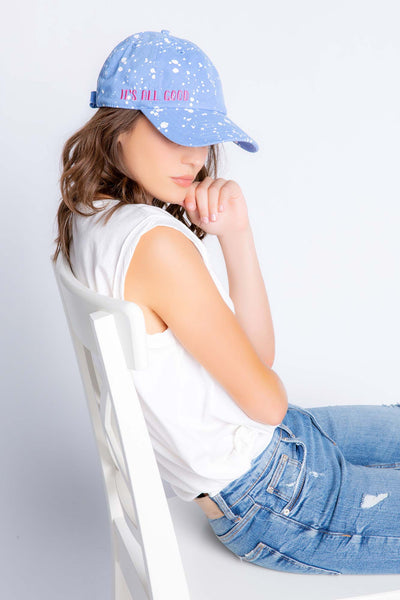 Blue cap with 'It's all good ' embroidery on cotton canvas. Adjustable back strap for a comfy fit. (4881847025764)