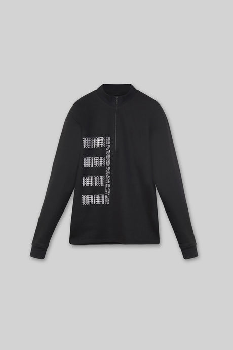 Print Zip Sweatshirt - Black
