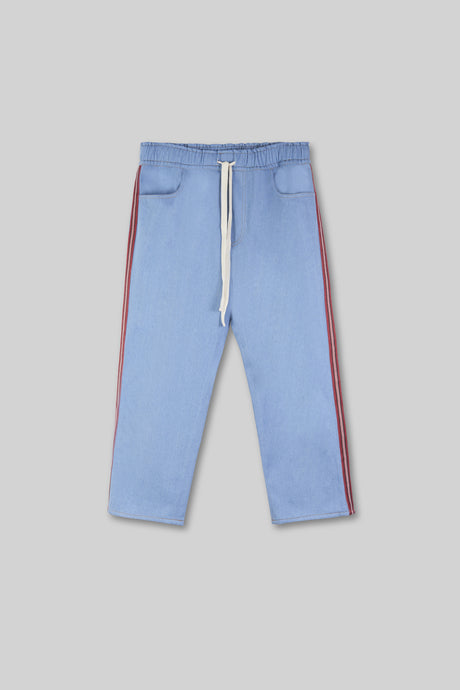 Cropped Denim Jogger - Blue
