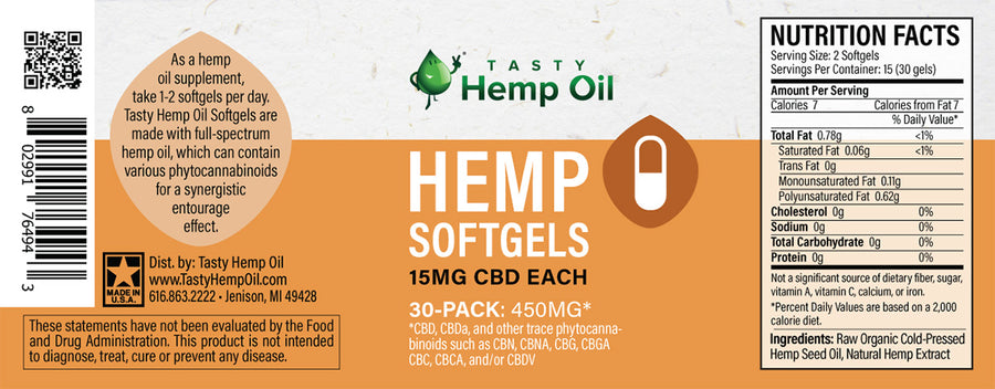 Tasty Hemp Oil Softgels 30-Pack (450mg CBD)