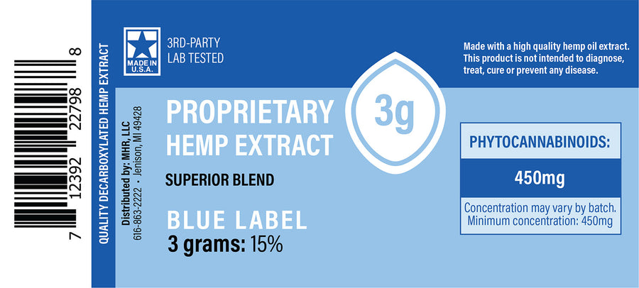 Proprietary Hemp Extract – Blue Label (150mg, 450mg, 1500mg CBD)