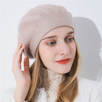 Xthree winter women s hat Cashmere beret hat Rhinestone knitted beret hat a628a7e75cce