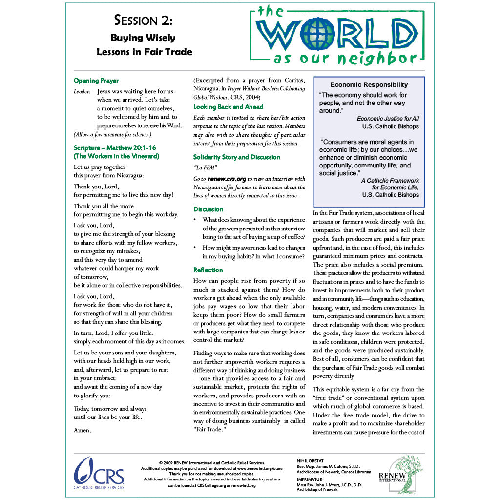 The World As Our Neighbor Session Two—Buying Wisely: Lessons in Fair Trade (Document Download)