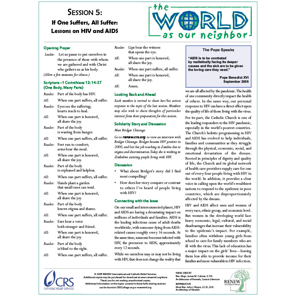 The World As Our Neighbor Session Five—If One Suffers, All Suffer: Lessons on HIV and AIDS (Document Download)