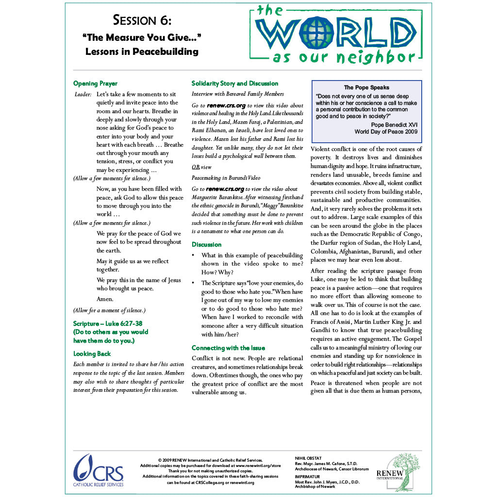 The World as Our Neighbor Session Six—The Measure You Give: Lessons on Peacebuilding (Document Download)