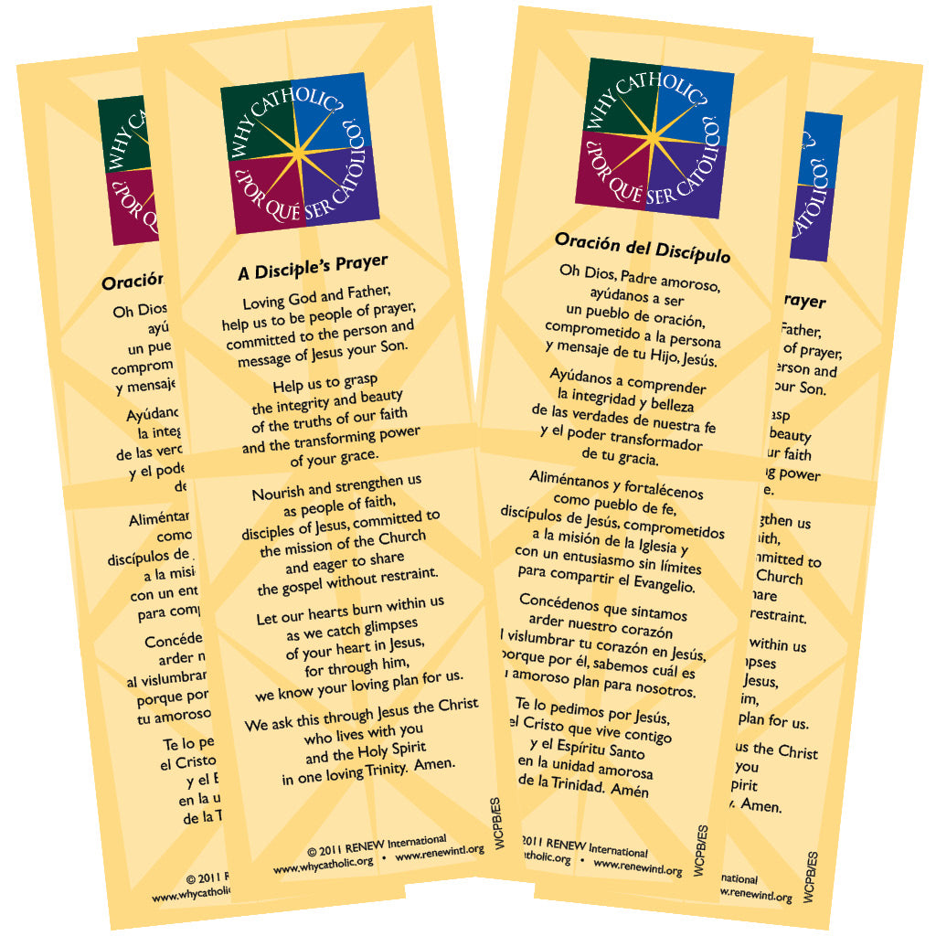 Disciple's Prayer Bookmarks: Bilingual English & Spanish (pack of 50)