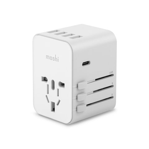 World Travel Adapter with USB-C and USB-A Ports - White