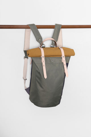 RORI ROLLTOP LAPTOP BACKPACK [ SAGE & YELLOW ]