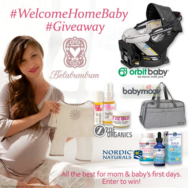 Gift package featuring Orbit Baby, Babymoov, Nordic Naturals, Zoe Organics and Belabumbum.