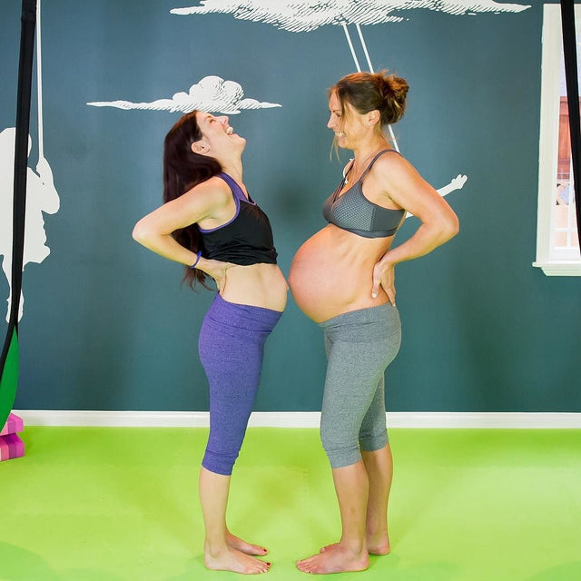 Melanie Darnell and Julie Baird - ourfitfamilylife and fitmomma4two - wear Belabumbum's maternity and nursing activewear.
