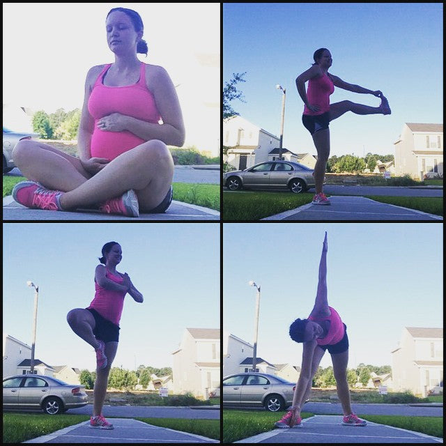 #GlowOnFitMom Rachel Grace in Belabumbum maternity fitness, stretch to fit nursing cami.