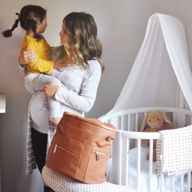 Pregnant mommy blogger Megan Quint Gressel of the Quintessentials shares her hospital bag for baby number 2 which includes Belabumbum Heather Nursing Robe