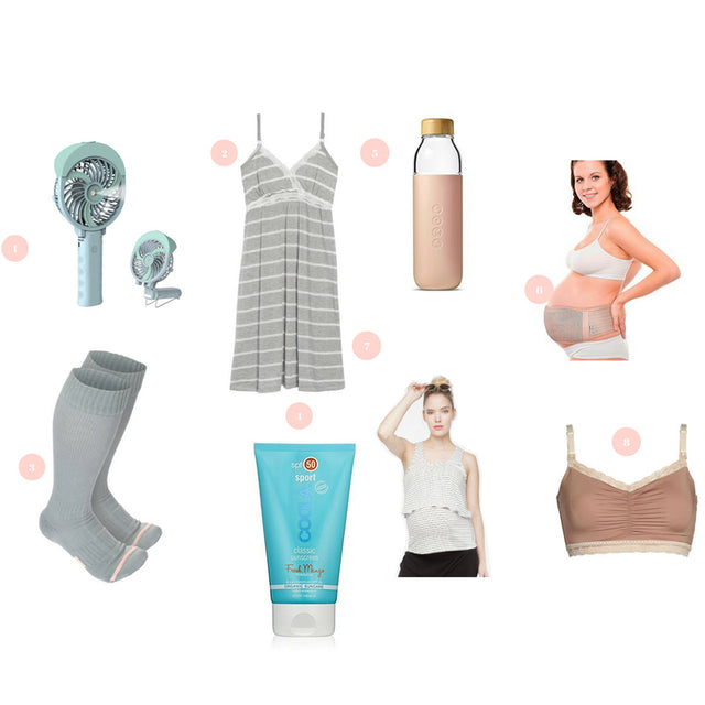Summer pregnancy essentials to keep mama cool. Summer pregnancy essentials to beat the heat. Summer Pregnancy Essentials to stay cool. Summer pregnancy essentials to keep mama cool.