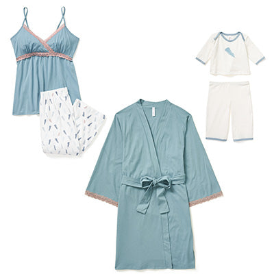Plume PJ + Robe + Baby Outfit
