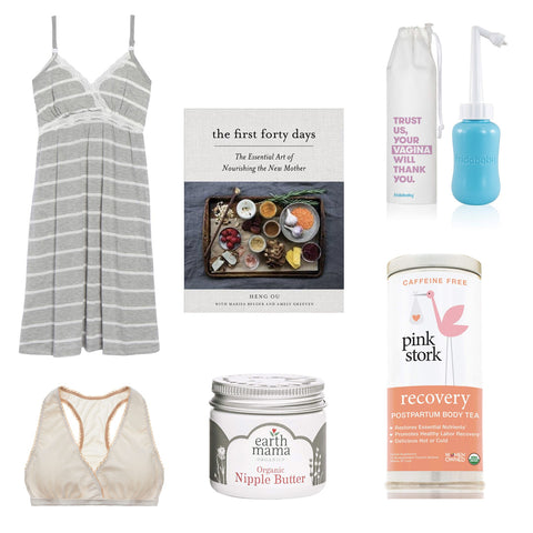 Essentials items to help moms through postpartum.