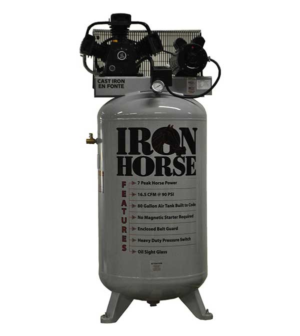 Iron Horse 7 HP 80 Gallon Single Stage Air Compressor (208/230 1 Phase)