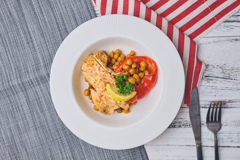 Cook Healthy Cumin Roasted Chickpeas Chicken dinner Bowl with Cookin1 meal kir with pre-portioned ingredients and easy-to-follow recipe online.