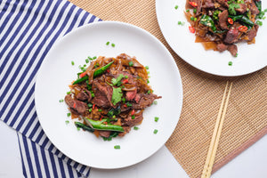 How to cook 2 servings Pad See Ew, Thai Stir Fried Noodle with Beef and Kai Lan, with Cookin1 meals kit online in Singapore