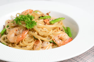 Wafu Prawns Pasta with Asparagus