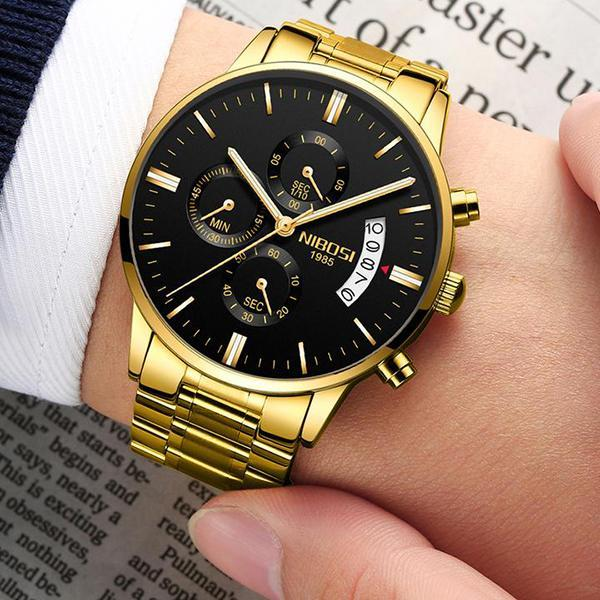 (Limited time offer)Mens Casual Watches Stainless Quartz Chronograph Waterproof Watch