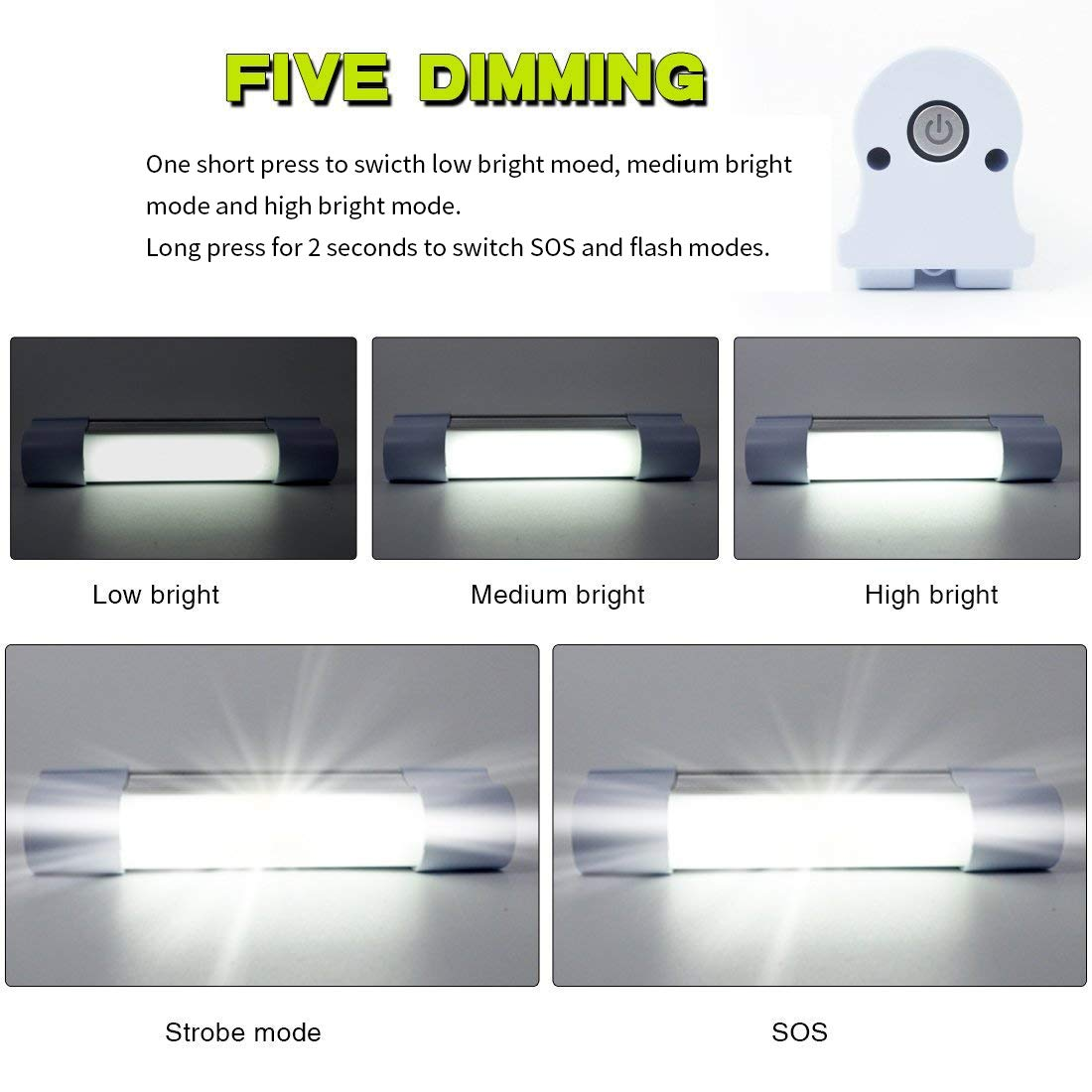 Portable USB Rechargeable Magnetic LED Camping Light - White 41