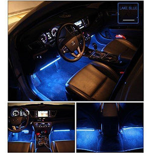 4PCS-Car Interior Lights,LED Wireless Remote Control Multicolor Music Interior Strip Lights