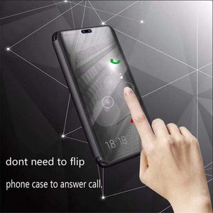 Flip Stand Mirror Leather Case Mirror Smart Windows Flip Cover for Samsung