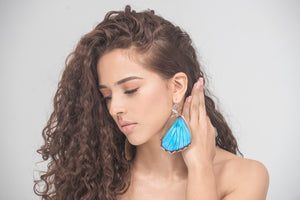 Filigree Earrings - Blue Morpho Hindwings