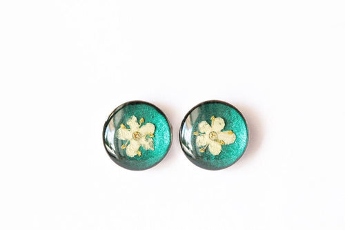 Mini Green Studs - Elderflowers