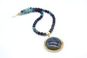 Agate Necklace - Peacock Feather