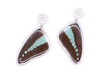 Load image into Gallery viewer, Filigree Pin Earrings - Turquoise Wings