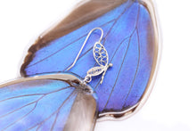 Load image into Gallery viewer, Filigree Earrings - Blue Morpho Hindwings