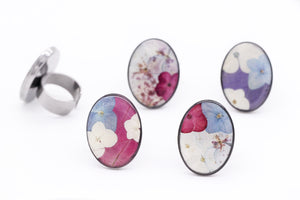 Flower Statement Rings - Pastel Collage